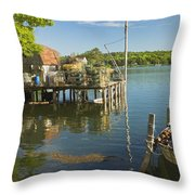 Lobster Traps On Pier In Round Pound On The Coast Of Maine Throw Pillow