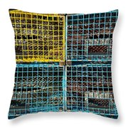 Lobster Traps Throw Pillow by Stuart Litoff