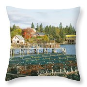 Lobster Village In Autumn, Southwest Throw Pillow