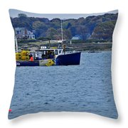 Lobstering Off Maine Coast Throw Pillow