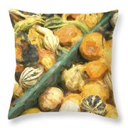 Local Glazed Gourds Painterly Effect Throw Pillow