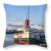 Loch Lomond Paddle Steamer Throw Pillow