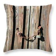 Locked Wood Throw Pillow
