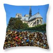 Locks Galore On The Pont De L'archeveche In Paris Throw Pillow