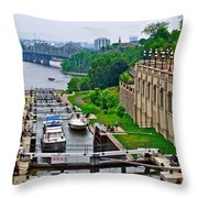 Locks On Rideau Canal East Of Parliament Building In Ottawa-on Throw Pillow