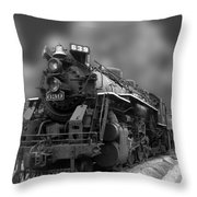 Locomotive 639 Type 2 8 2 Front And Side View Bw Throw Pillow