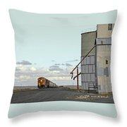 Locomotive And Silos Throw Pillow