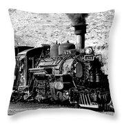 Locomotive Black And White Train Steam Engine Throw Pillow
