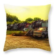 Locomotive Graveyard Throw Pillow