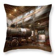Locomotive - Locomotive Repair Shop Throw Pillow