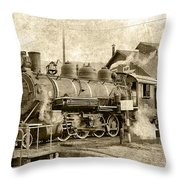 Locomotive No. 15 In The Yard Throw Pillow