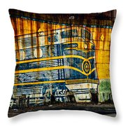 Locomotive On A Wall Throw Pillow