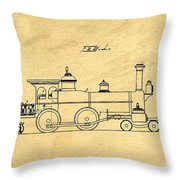 Locomotive Support Patent Drawing From 1915 1 Throw Pillow
