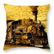 Sepia Locomotive Coal Burning Train Engine   Throw Pillow