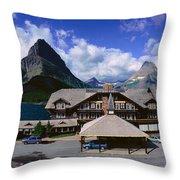 Lodge At Many Glacier, Glacier National Throw Pillow