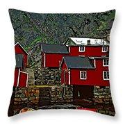 Lofoten Fishing Huts 2 Throw Pillow by Steve Harrington