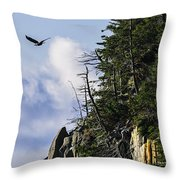 Lofty Bald Eagle Surveys Maines Bold Coast Throw Pillow
