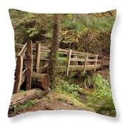 Log Bridge In The Rainforest Throw Pillow