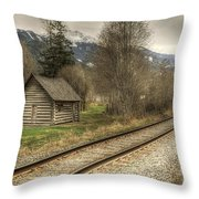 Log Cabin And Railroad Tracks Throw Pillow