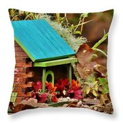 Log Cabin Birdhouse In Fall Throw Pillow