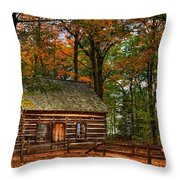 Log Cabin In Autumn Color Throw Pillow
