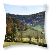 Log Cabin In The Mountains Throw Pillow