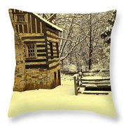 Log Cabin In The Snow Throw Pillow