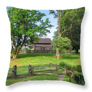 Log Cabin In The Trees Throw Pillow