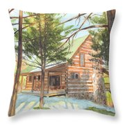 Log Cabin In The Woods Watercolor Portrait Throw Pillow