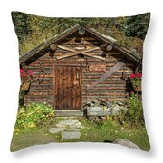 Log Cabin Kantishna, Alaska, Mnt Throw Pillow