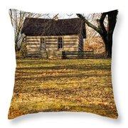 Log Cabin On A Hill Throw Pillow