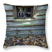Log Cabin Window And Fall Leaves Throw Pillow