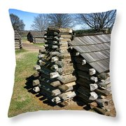Log Cabins At Valley Forge Throw Pillow