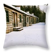 Log Cabins In Fort Wilkins Throw Pillow