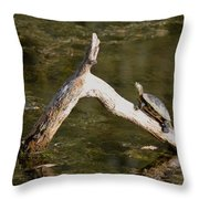 Log Climbing Turtle Throw Pillow