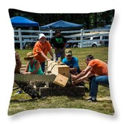 Log Cutting Competition Throw Pillow