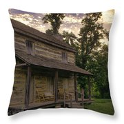 Log House Dusk Throw Pillow