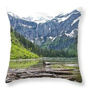 Log Jam In Avalanche Lake In Glacier Np-mt   Throw Pillow