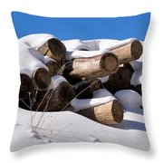 Log Pile In A Snow Drift In Winter Throw Pillow