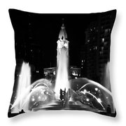 Logan Square Fountain At Night In Black And White Throw Pillow