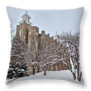 Logan Temple Winter Throw Pillow