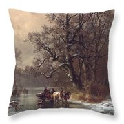 Loggers On A Frozen Waterway Throw Pillow
