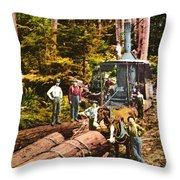 Logging With Steam Donkey Engine Near Olympia Washington Circa 1900 Throw Pillow