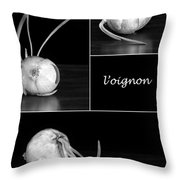 Onion Kitchen Art - L'oignon - Black And White Throw Pillow