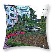 Lombard Street In San Francisco-california  Throw Pillow