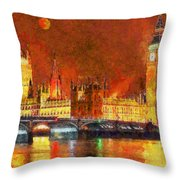 London By Night Throw Pillow