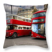 London Double Decker Buses Throw Pillow