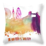 London England Skyline Pastel Throw Pillow