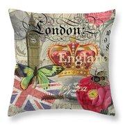 London England Vintage Travel Collage  Throw Pillow