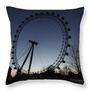 London Eye And New Moon Throw Pillow